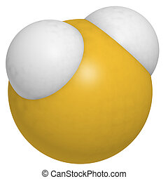 Hydrogen sulfide (H2S) molecule, chemical structure. H2S is...