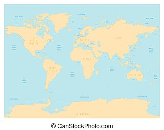 Hydrological map of world with labels of oceans seas gulfs bays hydrological map of world with labels of oceans seas gulfs bays and straits gumiabroncs Images