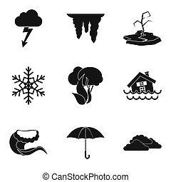 Hydrometeorological service icons set, simple style