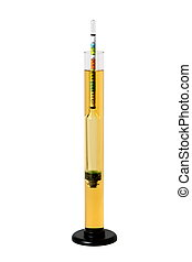 Hydrometer in Homebrew - A hydrometer is shown floating in a...