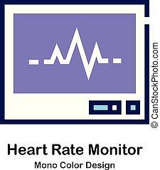 hydromonitor serca, kolor, mono, stosunek, ikona