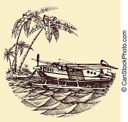 hydroplane, vector, zee, illustratie