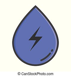 Hydropower color concept, hydropower icon. Vector sign -...
