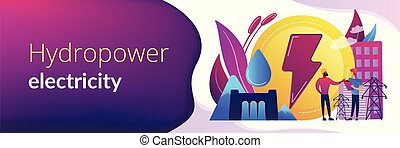 Hydropower concept banner header. - Engineers working at...