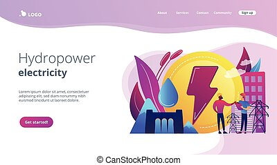 Hydropower concept landing page. - Engineers working at...