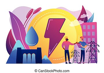Hydropower concept vector illustration. - Engineers working...