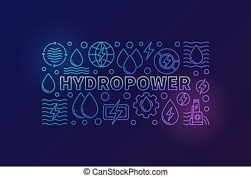 Hydropower creative banner. Vector renewable energy concept...