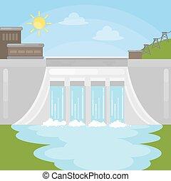 Hydropower dam illustration.