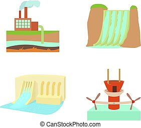 Hydropower icon set, cartoon style - Hydropower icon set....