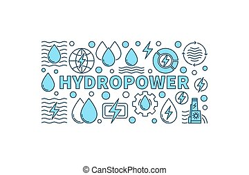 Hydropower minimal banner - vector creative illustration...