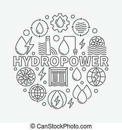 Hydropower round illustration - vector water power concept...