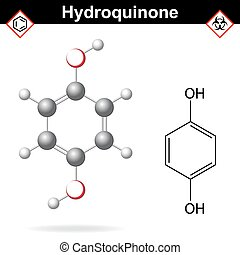 Hydroquinone - chemical formula and model, 2d and 3d vector isolated on white background, ball and stick style, eps 8