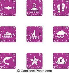 Hydrotherapeutic procedure icons set, grunge style -...