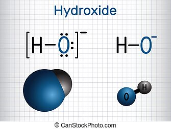 Hydroxide anion. Structural chemical formula and molecule model. Sheet of paper in a cage