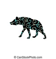 Hyena predator color silhouette animal