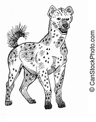Hyena standing - ink drawing of a hyena