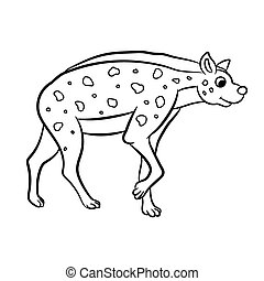 Hyena standing outlined