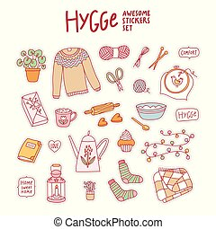 Hygge awesome stickers set