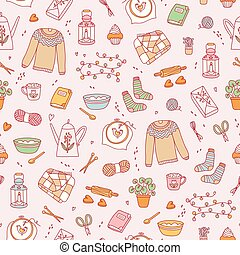 Hygge cozy pattern - Hygge cozy seamless pattern