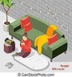 Hygge Lifestyle Isometric Background - Woman in knitted ...