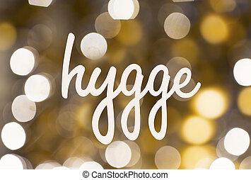 hygge, palabra, dorado, encima, confuso, luces, Plano de fondo