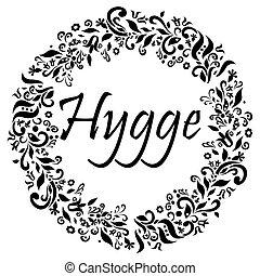 hygge, vida, flor, danés, rodeado, estilo, señal, symbolizing, forma, elementos, círculo negro, blanco