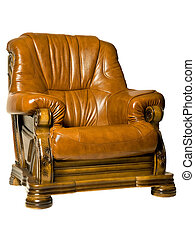 hyggelig, antik, læder armchair
