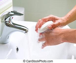 hygiène, lavage, nettoyage, hands.