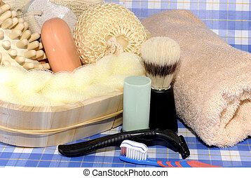 hygiène, outils, mâle, personnel