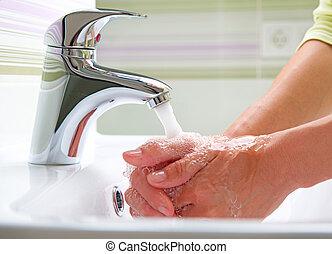 hygiëne, was, poetsen, hands.
