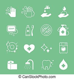 Hygiene and cleaning icons set.  Hand wash, soap, toilet paper , Toothpaste.
