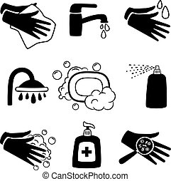 Hygiene black icons. Antiseptic cream and hands washing, antibacterial soap and personal towel silhouette icon set