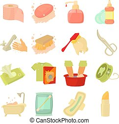 Hygiene cleaning icons set, cartoon style