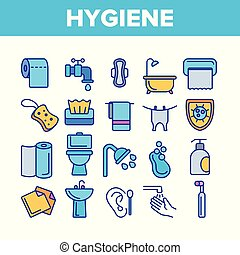 Hygiene, Cleaning Thin Line Icons Vector Set