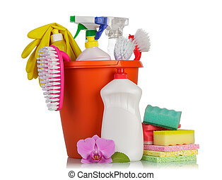 Hygiene cleanser in bottles with brush and gloves with sponge on white background