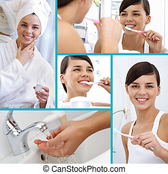 Collage of cheerful girl taking care of herself
