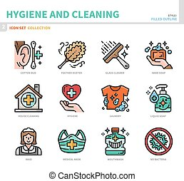 hygiene icon set - hygiene and cleaning icon set,filled ...