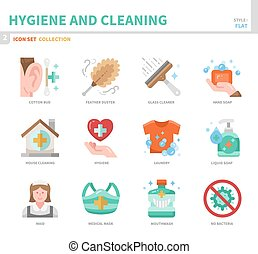 hygiene icon set - hygiene and cleaning icon set,flat style,...