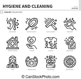 hygiene icon set - hygiene and cleaning icon set,outline ...