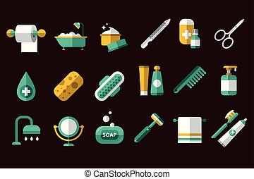 Hygiene icon set. Toilet paper, nail file and scissors, towel, toothpaste and brush. Bathroom and body care items. Flat vector design