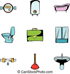 Hygiene icons set, cartoon style