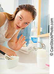 hygiene., mulher, lavando, limpeza, hands.
