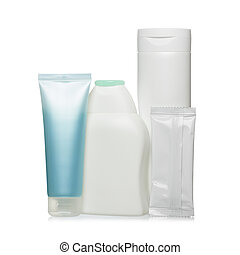 Hygiene products in plastic containers isolated on white