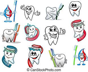 hygiene, satz, karikatur, zahn