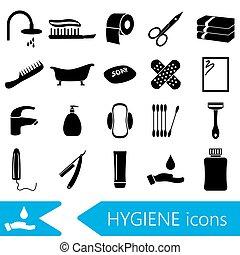hygiene theme modern simple black icons set eps10