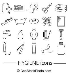 hygiene theme modern simple black outline icons set eps10