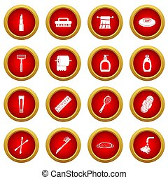 Hygiene tools icon red circle set