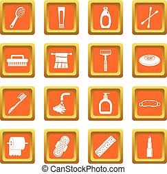 Hygiene tools icons set orange