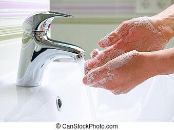 hygiene, wäsche, putzen, hands.