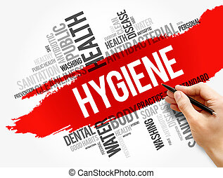Hygiene word cloud collage, health concept